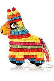 Sac porté épaule en raphia et cuir Piñata Charlotte Olympia