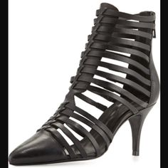SaleSchulz black leather ankle wrap heels. Super sexy and so on trend.  Completely sold out.  Unfortunately these are too big on my feet.  My loss is your gain.  True to size.  Comes with original dust bag and box. Schultz Shoes