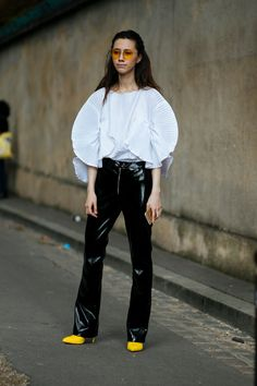 See The Most Covetable Street Style Vetements From Paris #refinery29 http://www.refinery29.com/2017/09/174062/paris-fashion-week-street-style-spring-2018#slide-32