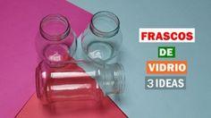 3 ideas para reciclar y decorar tus frascos de vidrio | Manualidades Biscuit, Karla Gerard, Diy Glasses, Bottle Vase, Ideas Para, Diy Ideas, 3 D, Mason Jars, Recycling