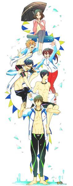 Ryugazaki Rei, Hazuki Nagisa, Matsuoka Gou, Nanase Haruka, Amakata Miho & Tachibana Makoto - Free!