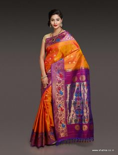 This Paithani Silk Saree in cross shades of rust and yellow, beautifully blended with pleasing purple of real zari mats brings out the sunny side up in a pleasant way. If you are an art lover then this rustic dream with purple border and pallu in the form of paithani silk saree cannot miss your eyes, and your wardrobe too!