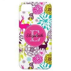 Modern Neon Colorful Deer and Flowers Monogrammed iPhone 5 Covers  Click on photo to purchase. Check out all current coupon offers and save! http://www.zazzle.com/coupons?rf=238785193994622463&tc=pin