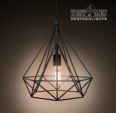 Westmenlights Diamond Geometric Industrial Chandelier Ceiling Pendant Lamp Black Lounge Hanging Pendant Light DIMON