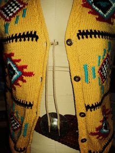 Vintage, Southwestern, Navajo pattern sweater vest with metal buttons. Perfect for the bohemian, the gypsy, the free spirit. One of a kind. Find it here: https://www.facebook.com/pages/Love-Rust/128051613970328