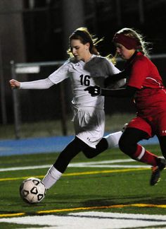 Cape sophomore Madeline Smith takes a shot in the Vikings' 10-0 win over the Bulldogs. Click soccer photo to read entire sports article: Cape girls soccer outscores Laurel 10-0