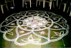 Kolam ( decorative artwork drawn on the floor in front of Houses ) of South India