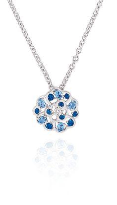 Camélia pendant in 18k white gold, sapphires, aquamarines and diamonds. CAMÉLIA CHANEL