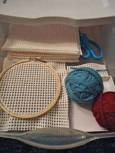 To the Lesson!: Sewing with yarn on white shelf liner
