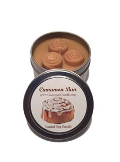 Soy Candles, 4 oz Cinnamon Bun Candle Tin, Cinnamon Roll, Cinnamon Candle, Candle Favors, Scented Candles, Novelty gift, Wholesale Candles by GourmetCandle on Etsy https://www.etsy.com/listing/191109694/soy-candles-4-oz-cinnamon-bun-candle-tin