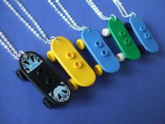 Lego Minifigure Skateboard Pendant Necklace. Kitsch. Great Gift!