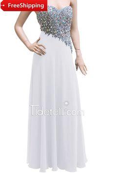 Elegant Sheath Sweetheart Floor Length Chiffon Prom Dress with Rhinestones