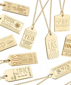 ✈ Jet Set Candy Gold Luggage Tag Charms Featuring Airport IATA Codes. Pictured here is a tag for New York City (JFK Airport), among other U.S. Destinations ✈