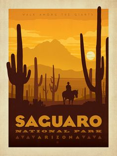 Saguaro National Park - Anderson Design Group has created an award-winning series of classic travel posters that celebrates the history and charm of America's greatest cities and national parks. Founder Joel Anderson directs a team of talented Nashville-based artists to keep the collection growing. This print celebrates the arid splendor of Saguaro National Park.<br />