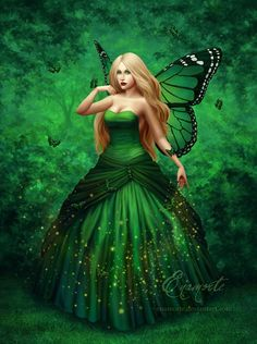 Green fairy ~ love her dress, but she'd look better as a brunette, redhead, or black hair.