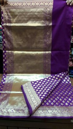 Benarasi silk katan in Purple and gold