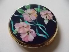 Stratton Pink Flowers Vintage Compact 1960s