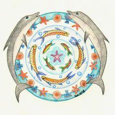 Dolfijnmandala, vissenmandala, dolphin mandala by Kim Vermeer