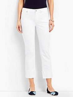 860913a378d Cuffed Denim Straight Crop - White Talbots