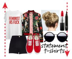 """""""Statement T-Shirt #2"""" by kennm24 ❤ liked on Polyvore featuring Gucci, TOP-TEE, River Island, Junya Watanabe and MAC Cosmetics"""
