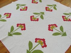 Stunning 19th C Antique Hand Appliqued Quilt Red Green Cheddar Fabulous Quilting | eBay
