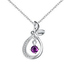 Curved Abstract Dangling Purple Citrine Drop Necklace Women's
