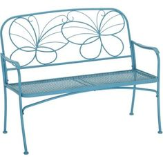 """Butterfly Outoor Patio Bench Vibrant Blue 24.25"""" Long Holds 2 People Cap 450 lbs #Mainstays"""