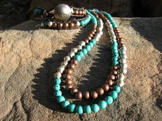Copper turquoise and silver double strand necklace by fleurdesignz, $38.00
