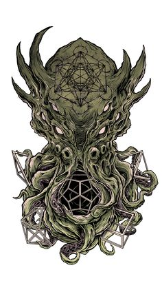 Concept for a Sacred Geometry Cthulhu tattoo piece.