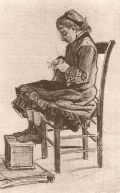 Girl Sitting, Knitting  Lead pencil on paper 43.0 x 26.5 cm. The Hague: March, 1882