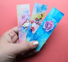 the set of three bookmarks, unique watercolor painting, giclee print, designer satin paper Watercolor Pictures, Watercolor Print, Watercolor Paintings, Original Paintings, Painted Signs, Hand Painted, Summer Gifts, Flower Art, Art Flowers