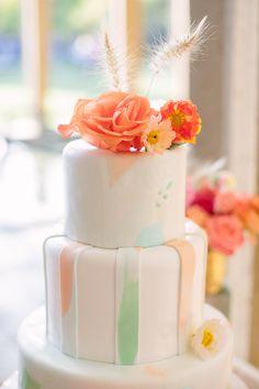watercolor cake, photo by Joielala http://ruffledblog.com/artsy-san-diego-wedding #weddingcake #cakes