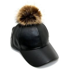 Women's Faux Leather Fur Pom Pom Adjustable Baseball Cap PM3041 ($17) ❤ liked on Polyvore featuring accessories, hats, faux leather hat, adjustable ball caps, pom pom baseball cap, pompom hat and fur pom-pom hats