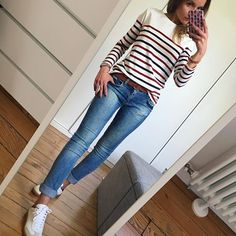 Outfit ⚓️ #ootd#outfitoftheday#dailyoutfit#dailylook#instafashion#fashionpost#fashionblogger#fashionpost#wiwt#whatiwore#picoftheday marinière#sezane jean(old)#zara baskets#isabelmarant