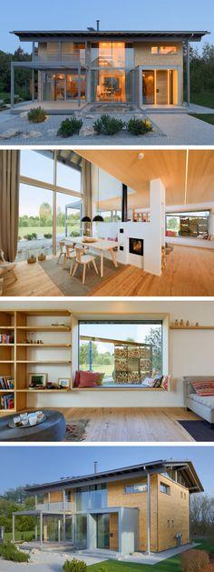 Bungalow Haus mit Klinker Fassade  Walmdach Architektur - kuche wohnzimmer offen modern