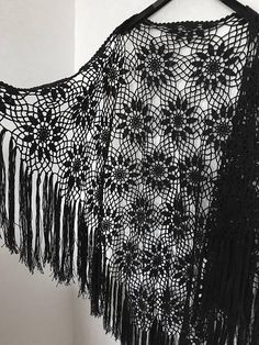 Black Crochet Shawl  Boho Gypsy Shawl  Hippie Patchwork