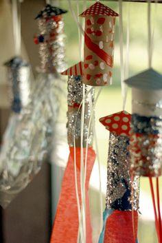 Rocket Powerrrrrr, rockets made from toilet paper rolls, glitter, paper scraps, string, yarn or streamers...