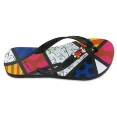 Romero Britto Flip Flops by Dupe - Heart Design - USA >>> More info could be found at the image url. (This is an affiliate link) #sandalslover