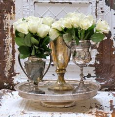 white roses in vintage silver Silver Trays, Silver Plate, Vintage Silver, Antique Silver, Trophy Cup, Tarnished Silver, Sterling Silver, White Roses, Floral Arrangements