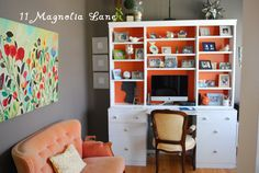http://www.11magnolialane.com/2012/05/07/traceys-home-tour-part-two/#  love this white desk with orange background paint--and grey with orange works, surprisingly.  it's a nice neutral to tone down the bright.