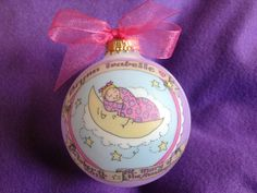 Baby Girl Baptism Ornament Baby in the Moon by BarbziesCustomArts (Home & Living, Home Décor, Ornaments & Accents, Ornaments, infant, baby, newborn, baptism, christening, daughter, godmother, godfather, granddaughter, girl baptism gift, goddaughter gift, godmother gift, godfather gift)