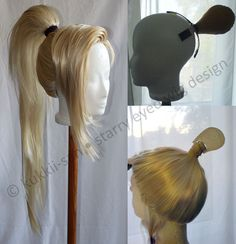 Photo submitted by Kukkii-san. Ponytail shapes in comparison! Cosplay Wig Tutorial, Ponytail Tutorial, Costume Tutorial, Cosplay Diy, Cosplay Outfits, Cosplay Costumes, Cosplay Ideas, Rococo Fashion, Wig Making