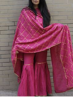 Magenta Pink Cotton flared Sharara suit with gold gota