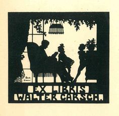 bookplate for Walter Carsch ... depicts silhouettte of man in easy chair reading to children, with lettering cut out in reverse black on cream