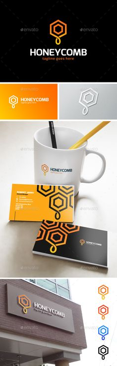 Logo Design, Bee Design, Graphic Design, Honey Cafe, Honey Logo, Honey Brand, Internet Logo, Honey Packaging, Logo Shapes