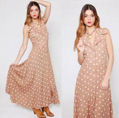 Vintage 80s POLKA DOT Maxi Dress Mocha & White Sleeveless Sun Dress by LotusvintageNY