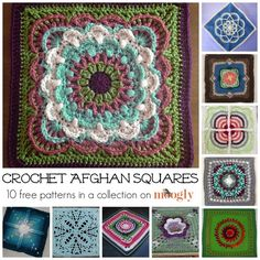 Gorgeous Crochet Afghan Squares: 10 FREE crochet patterns in a collection on Moogly! ༺✿ƬⱤღ  https://www.pinterest.com/teretegui/✿༻