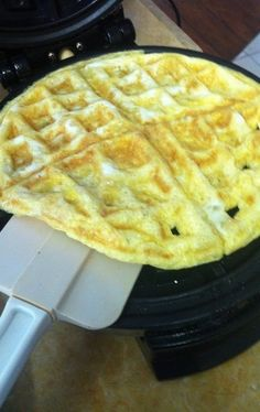 6. Waffled Scrambled Eggs  Beat a few eggs and add any other ingredients or seasonings you want, pour the mixture in your waffle iron, and wait about 3 minutes. Scrambled eggs with no stirring required.