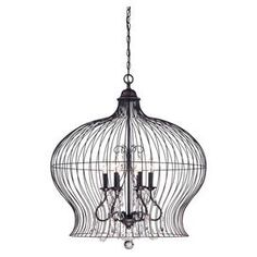 Pendant in forged black with crystal accents.  Product: PendantConstruction Material: MetalColor: Forged black  Features: Birdcage inspired designAccommodates: (6) 60 Watt B10 incandescent bulbs - not includedDimensions: 30 H x 30 Diameter
