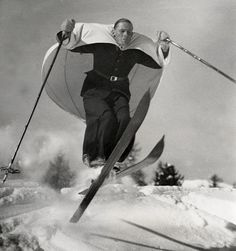 ski-sailing, invented in austria, demonstrated in st.moritz, switzerland, 1938.